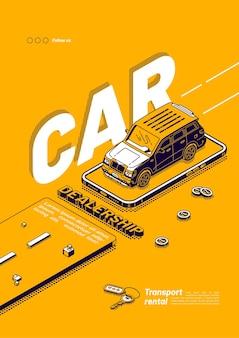 Plakat z wypożyczalnią samochodów w salonie samochodowym