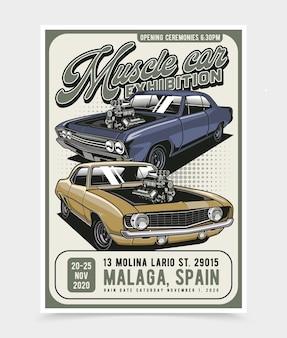 Plakat z wystawą samochodów mięśni