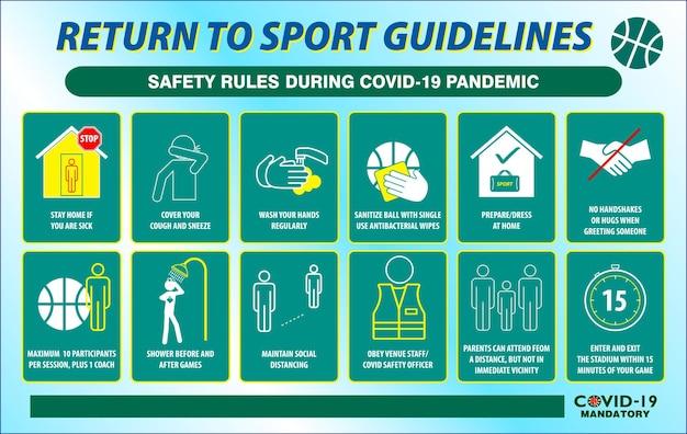Plakat z wytycznymi sportowymi dotyczącymi zasad bezpieczeństwa lub praktykami zdrowia publicznego dotyczącymi covid19