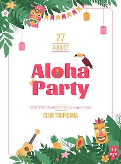 Plakat z zaproszeniem na aloha party w stylu hawajskim z tropikalnymi liśćmi i maską tiki, kreskówka