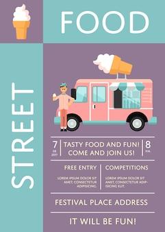 Plakat z zaproszeniem na festiwal żywności z ciężarówką z lodami