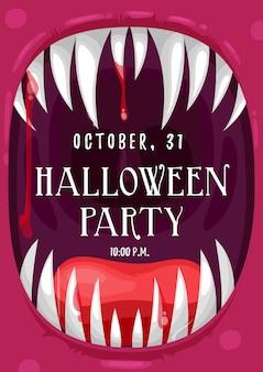 Plakat z zaproszeniem na przyjęcie halloweenowe w ramce wrzeszczącego wampira z zakrwawionymi ustami