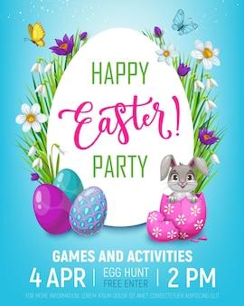 Plakat z zaproszeniem na przyjęcie wielkanocne polowanie na jajka z kreskówkowym królikiem w skorupce jajka