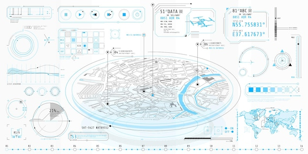 Plakat z zestawem futurystycznych elementów hud na temat geo-position.