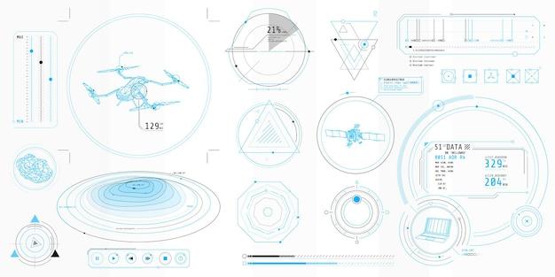 Plakat z zestawem futurystycznych elementów hud na temat sterowanie dronem.