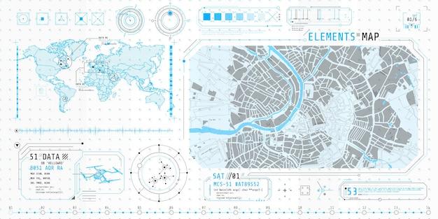 Plakat z zestawem futurystycznych elementów hud na temat wyszukiwania na mapie.