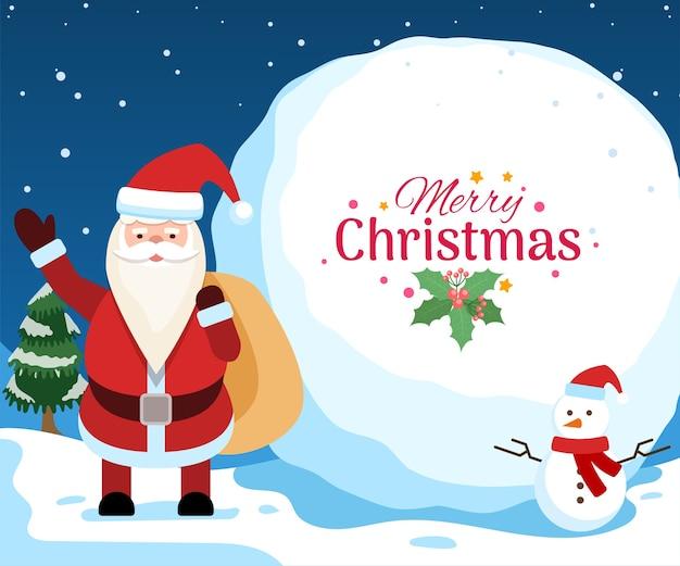 Plakat z życzeniami bożonarodzeniowymi z mikołajem i bałwanem