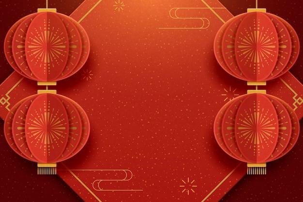 Plakat z życzeniami szczęśliwego nowego roku z wiszącymi lampionami