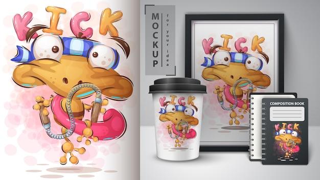 Plakat żaby karate i merchandising