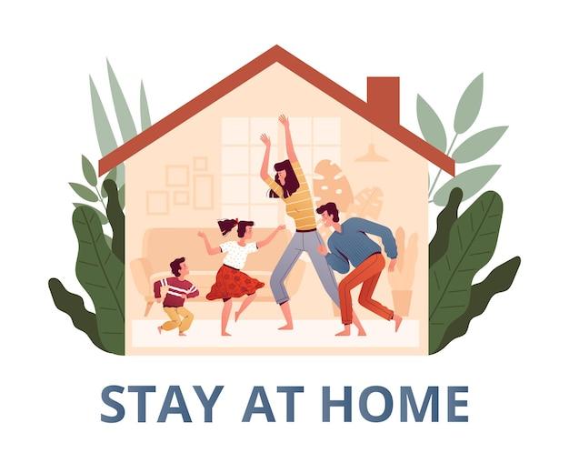 Plakat Zachęcający Do Pozostania W Domu I Ochrony Premium Wektorów
