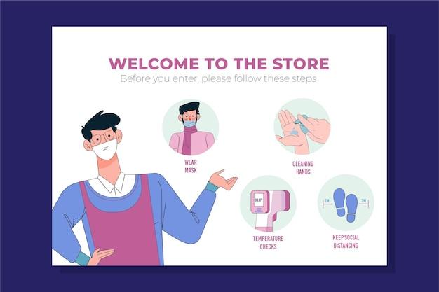 Plakat zapobiegający koronawirusowi dla sklepów