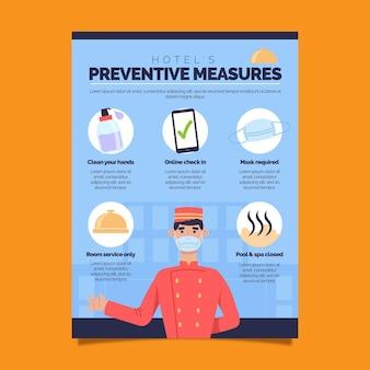 Plakat zapobiegający koronawirusowi dla szablonu hoteli