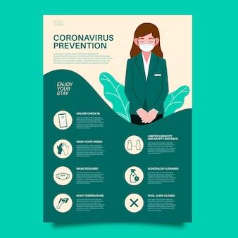 Plakat Zapobiegający Płaskiemu Koronawirusowi Dla Hoteli Darmowych Wektorów