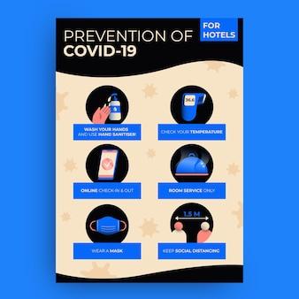 Plakat zapobiegający płaskiemu koronawirusowi dla hoteli