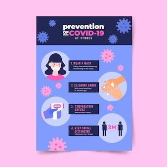 Plakat zapobiegania koronawirusowi dla koncepcji sklepów