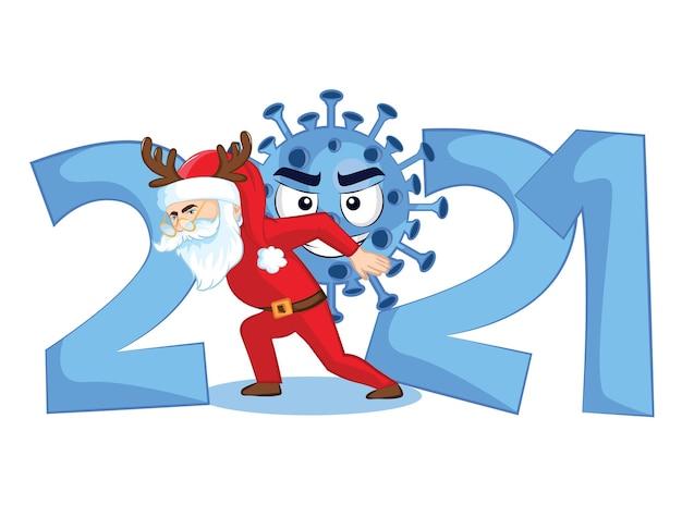 Plakat zdrowy nowy rok. nowe normalne życie 2021. plakat szczęśliwego nowego roku.