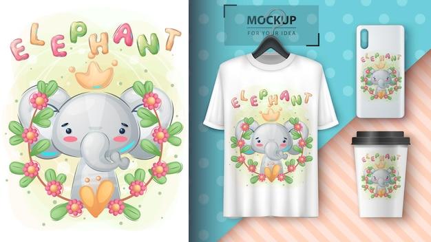 Plakat ze słonią księżniczką i merchandising