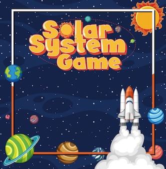 Plakat ze statkiem kosmicznym i wieloma planetami