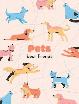 Plakat ze zwierzętami to koncepcja najlepszych przyjaciół