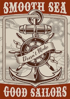 Plakat żeglarski w stylu vintage z kotwicą na białym tle. tekst znajduje się w osobnej grupie.