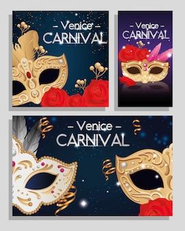 Plakat zestaw weneckiego karnawału z dekoracją