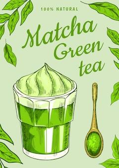 Plakat zielonej herbaty matcha z liśćmi
