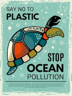Plakat żółwia. ozdobny afisz kreatywny z wizerunkiem stylizowanego żółwia oceanicznego lub morskiego