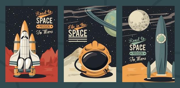 Plakat życie w kosmosie ze scenami