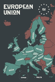 Plakatowa mapa unii europejskiej z nazwami krajów i stolicami.