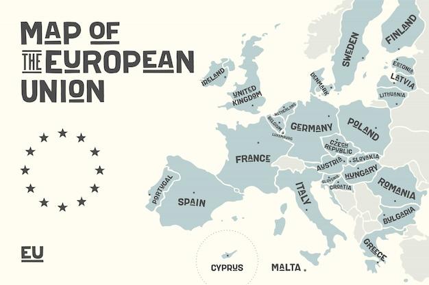 Plakatowa mapa unii europejskiej z nazwami krajów