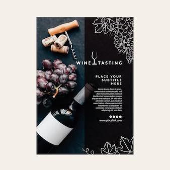 Plakatowy szablon degustacji wina