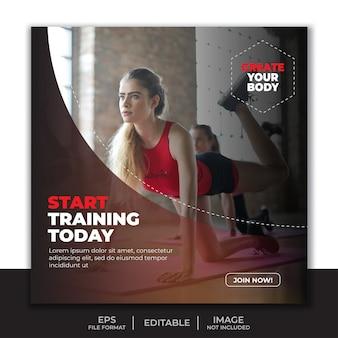 Plakatowy szablon fitness na siłowni