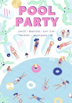 Plakatowy szablon letniej imprezy przy basenie z osobami ubranymi w stroje kąpielowe, pływającymi i opalającymi się w ośrodku.