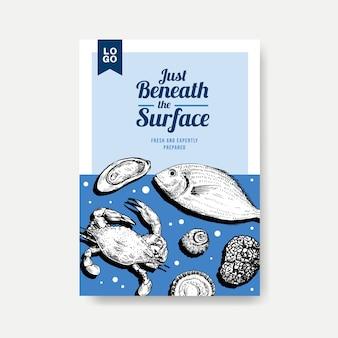 Plakatowy szablon menu z koncepcją owoców morza do reklamy i ilustracji marketingowych