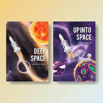 Plakatowy szablon z akwarelą w galaktyce