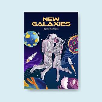 Plakatowy szablon z galaktyką koncepcji projektu akwarela ilustracja