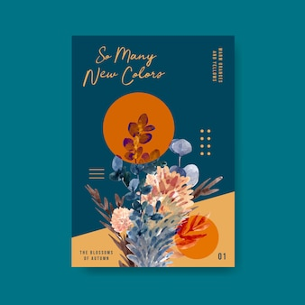 Plakatowy szablon z jesiennym kwiatem dla broszury i marketingowej ilustracji akwarela.