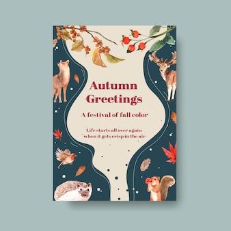 Plakatowy szablon z jesiennym lasem i zwierzętami