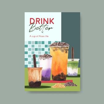 Plakatowy szablon z koncepcją bąbelkowej herbaty mlecznej