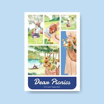 Plakatowy szablon z koncepcją podróży piknikowej