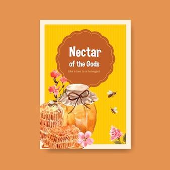 Plakatowy szablon z miodem do marketingu i ilustracji wektorowych akwarela ulotki