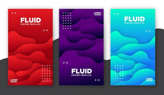 Plakatowy szablon z płynnymi kształtami