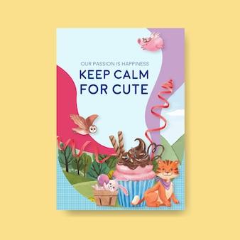 Plakatowy szablon ze szczęśliwymi zwierzętami ilustracja koncepcja akwarela