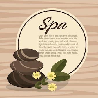 Plakatowy zdrój gorący kamienny masaż relaksuje z kwiatu drewna bakcground