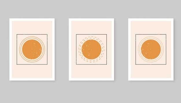Plakaty abstrakcyjne słońce. współczesne tła, zestaw okładek w nowoczesnym stylu boho.