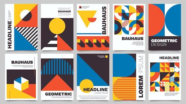 Plakaty bauhausu. nowoczesne streszczenie broszura z geometrycznymi kształtami, trójkątami, okręgami i kwadratami. minimalistyczny, odważny styl wektor zestaw z szablonami podstawowych figur. okładki albumów z grafiką
