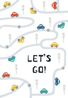 Plakaty dla dzieci z samochodami, mapą drogową i napisem let's go w kreskówkowym stylu.