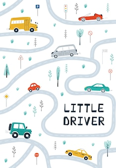 Plakaty dla dzieci z samochodami, mapą drogową i napisem mały kierowca w stylu kreskówki.