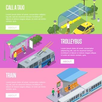 Plakaty dotyczące trolejbusów, taksówek i stacji kolejowych