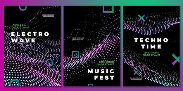 Plakaty imprezowe z muzyką techno. ulotka klubowa, projekt elektronicznego festiwalu dj. fale dźwiękowe przepływu, rock house wydarzenie muzyczne ostatnie tło wektor. ulotka muzyki tanecznej, ilustracja zaproszenia plakat techno